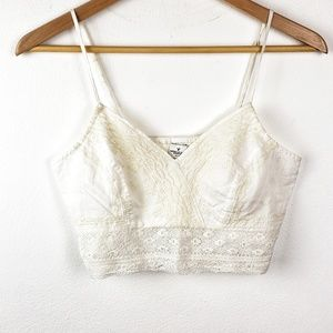 American Eagle | White Cream Lace Bralette Top Med